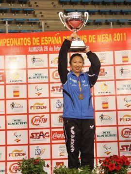 Yanfei Shen, tras proclamarse campeona de España de tenis de mesa