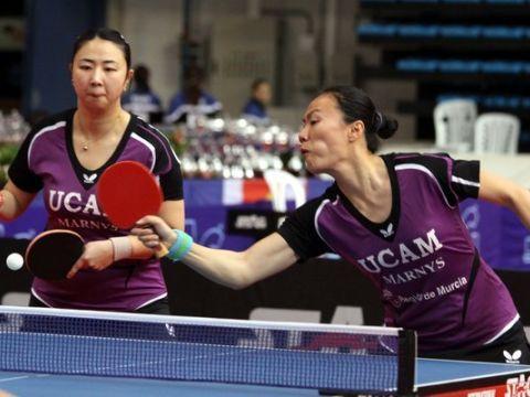 Yanfei Shen y Zhu Fang durante la final de dobles del Cto. de España (Foto: Íñigo Villacieros)