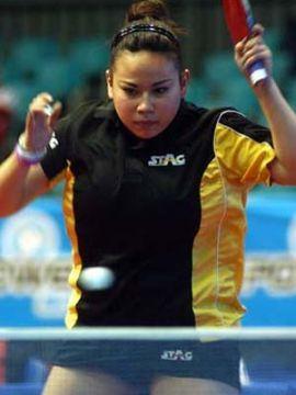 Patricia fernández participando en el Open de Chile. (Foto: Cristian Larrain en www.ittf.com)