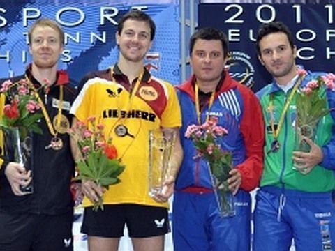 Patrick Baum , Timo Boll, Aleksandar Karakasevic y Bojan Tokic.