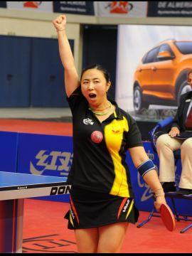 Yanfei Shen celebrando la victoria de hoy. (Foto: Pablo Rubio)