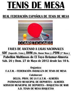 Cartel de la Federación Andaluza anunciando las distintas fases que se organizan en Almería.