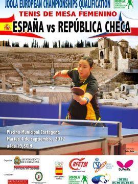 Cartel anunciador del partido de Cartagena que enfrentará a España y Chequia.