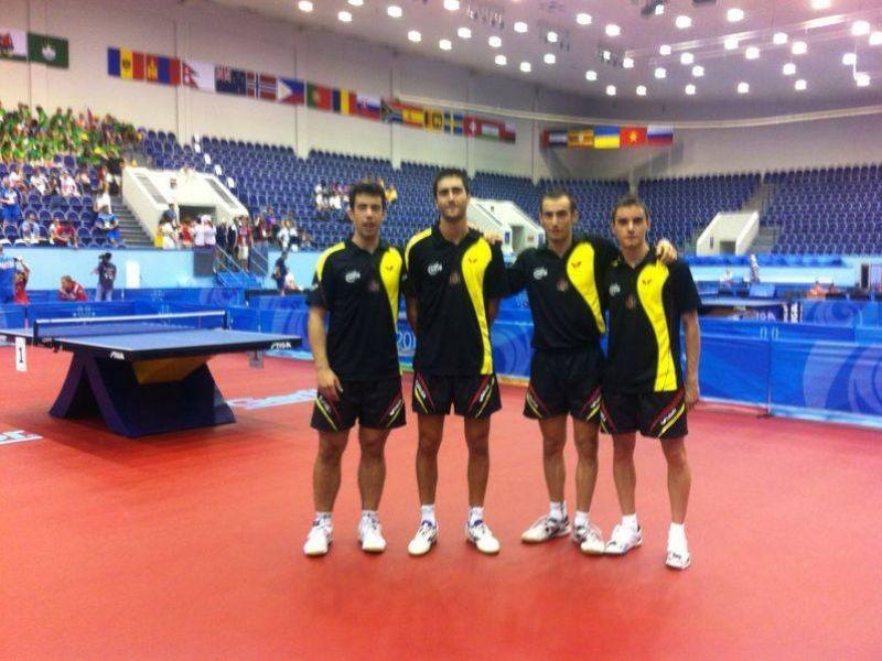 Los cuatro integrantes del equipo español en el recinto de juego de esta Universiada de Kazán.