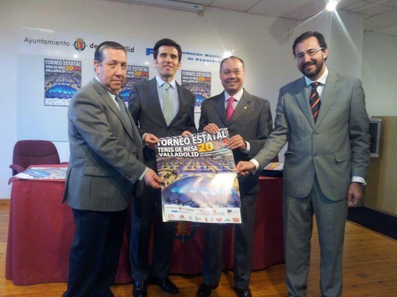 José Luis Bermejo, Alfonso Lahuerta, Alfredo Blanco y Miguel Ángel Machado en el acto de esta mañana.