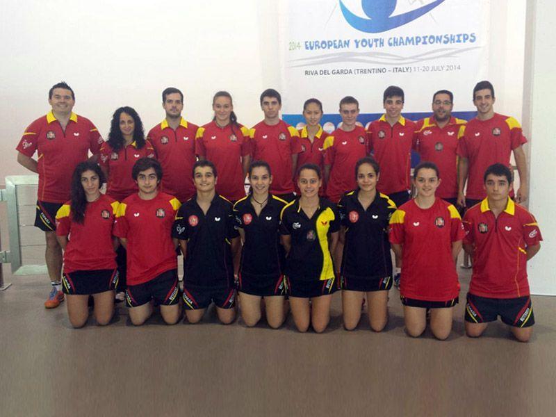 Equipo español que ha participado en el  Campeonato de Europa de Tenis de Mesa Junior y Cadete celebrado en Italia.