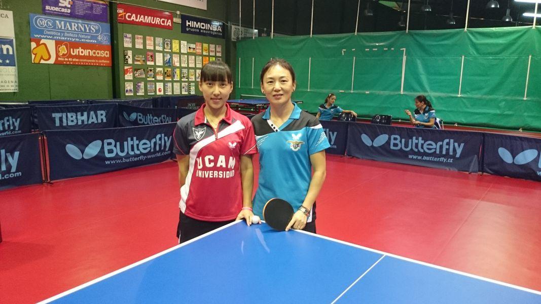 Li Xiang y Li Yao abrieron el partido de esta mañana en Cartagena. (Foto: UCAM Cartagena)