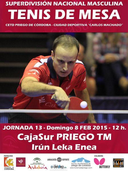 Cartel anunciador del partido entre el CajaSur Priego y el Irún Leka Enea.