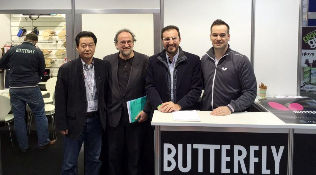 Himamura, Serra, Machado y Rangs en el stand de Butterfly de la ISPO 2015.