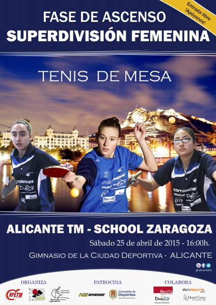 Cartel anunciador de la Fase de Ascenso a Superdivisión Femenina que organiza el Alicante TM.