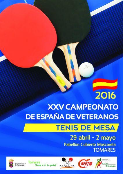 Cartel anunciador de la vigesimoquinta edición de los Campeonatos de España de Veteranos de Tenis de Mesa.
