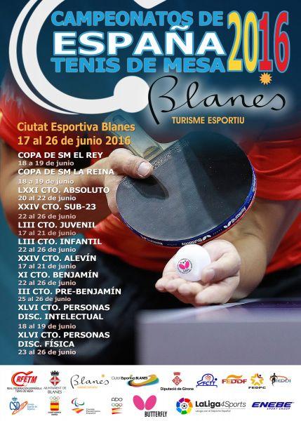 Cartel anunciador de los Campeonatos de España de Tenis de Mesa 2016.
