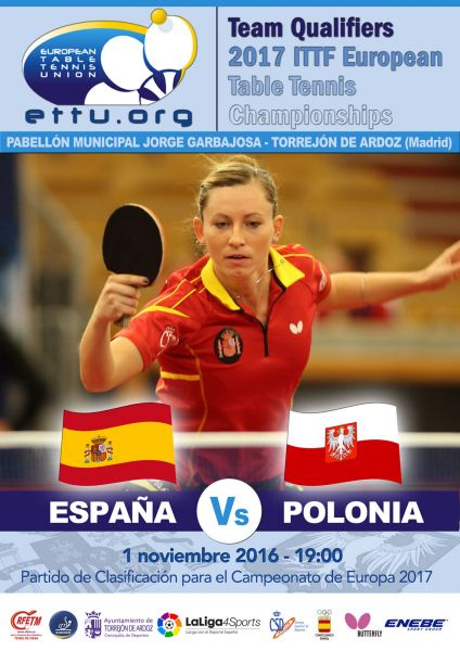 Cartel anunciador del partido del equipo femenino en Torrejón de Ardoz.