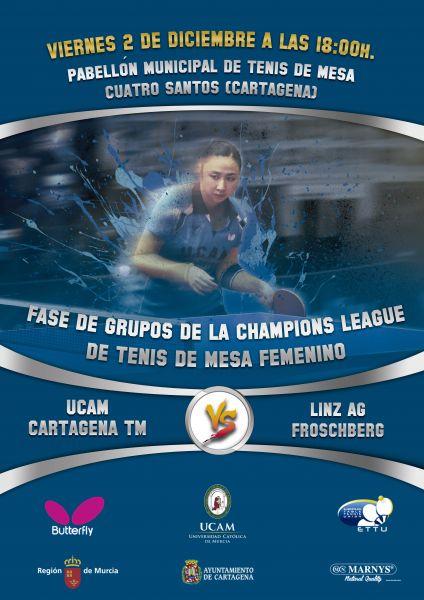 Cartel anunciador del partido de la última jornada de la primera fase de la Champions League Femenina.