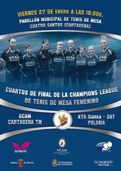 Cartel anunciador del partido entre el UCAM Cartagena y el KTS Siarka ZOT Tarnobrzeg polaco.