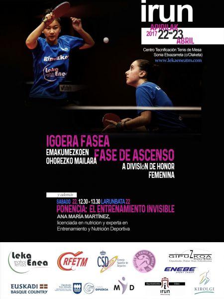 Cartel Fase de Ascenso a División de Honor Femenina que se disputará en Irún.