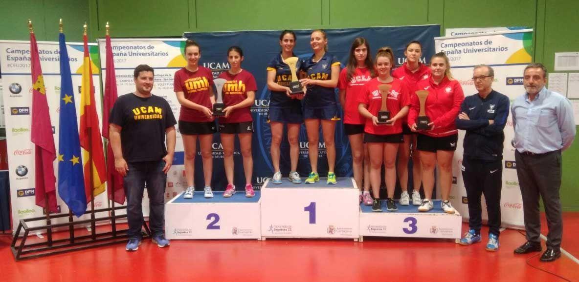 Podio femenino del Campeonato de España Universitario por Equipos 2017