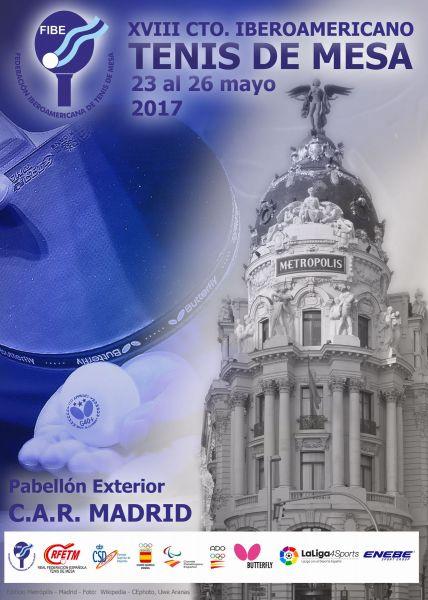 Cartel XVIII edición del Campeonato Iberoamericano de Tenis de Mesa