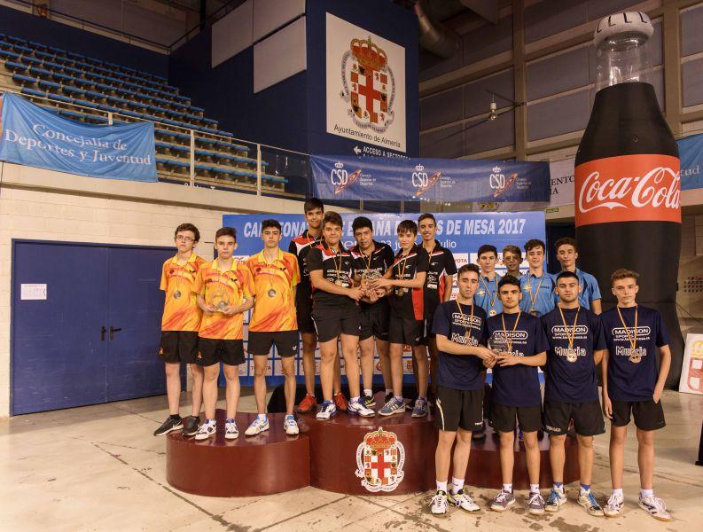 Podio Juvenil Masculino por Equipos Campeonato de España 2017 de Tenis de Mesa