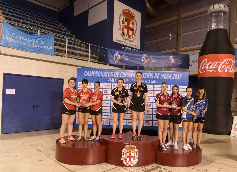 Podio Juvenil Femenino por Equipos Campeonato de España 2017 de Tenis de Mesa
