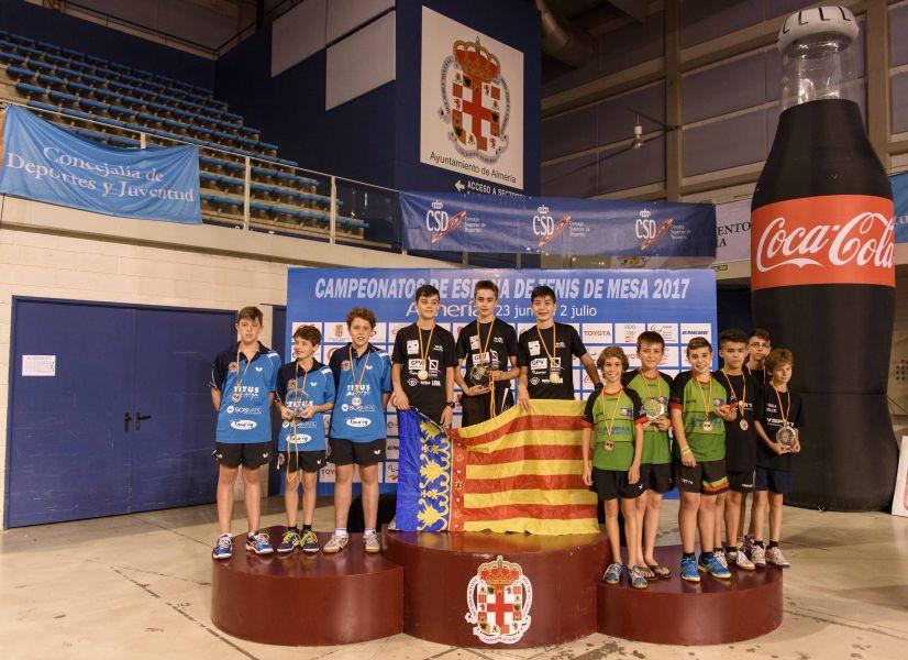 Podio Alevín Masculino por Equipos Campeonato de España 2017 de Tenis de Mesa