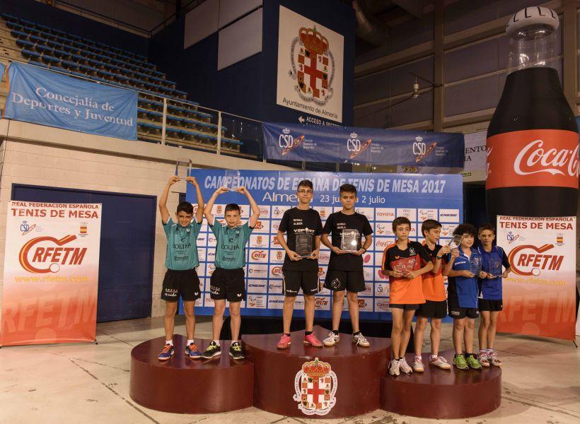 Podio Campeonato de España Alevín Masculino Dobles 2017