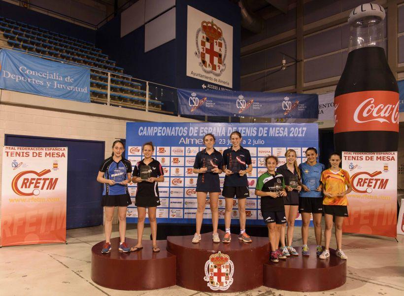 Podio Campeonato de España Alevín Femenino  Dobles 2017