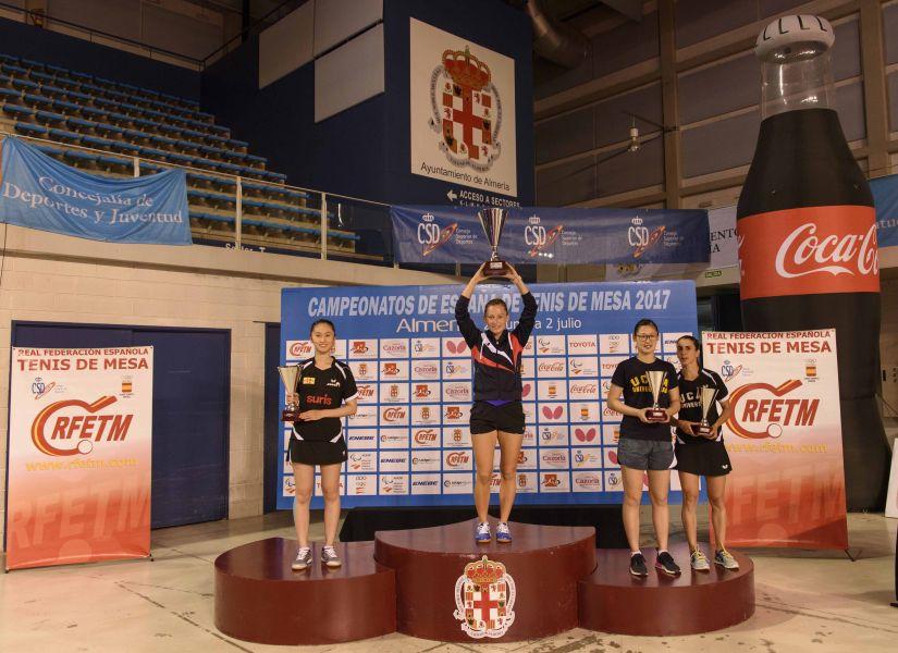 Podio Femenino Individual del Campeonato de España de Tenis de Mesa 2017