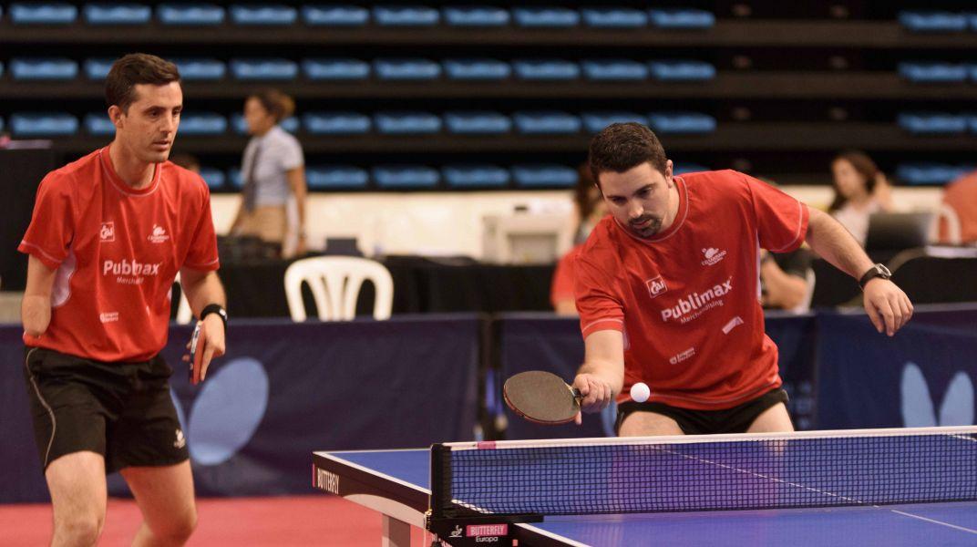 Jose Manuel Ruiz y Jorge Cardona, en acción durante el Campeonato de España de Tenis de Mesa 2017