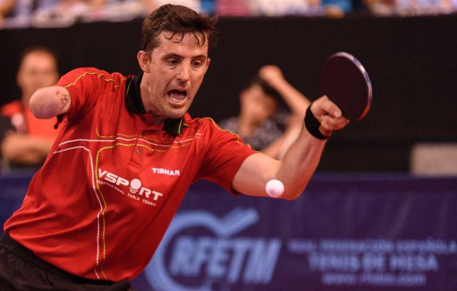Jose Manuel Ruiz, en acción durante el Campeonato de España de Tenis de Mesa 2017