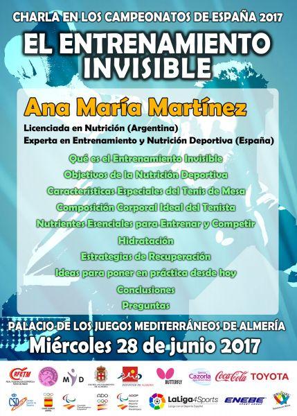 Cartel anunciador de la Ponencia de Ana María Martínez.