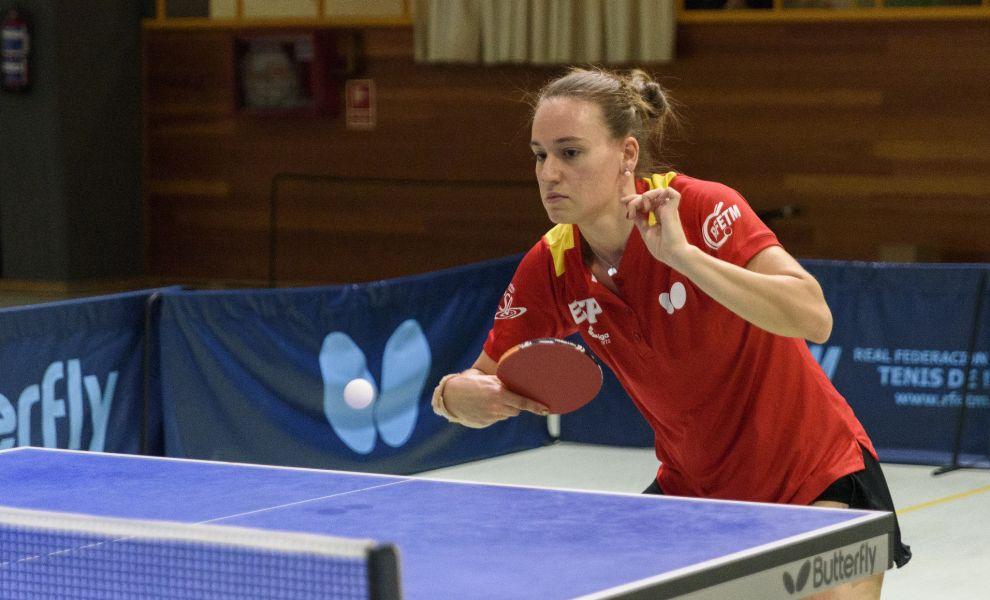 Marina Ñiguez, jugadora de la selección española junior femenina de tenis de mesa en la concentración previa al Campeonato de Europa para Jóvenes de Tenis de Mesa 2017