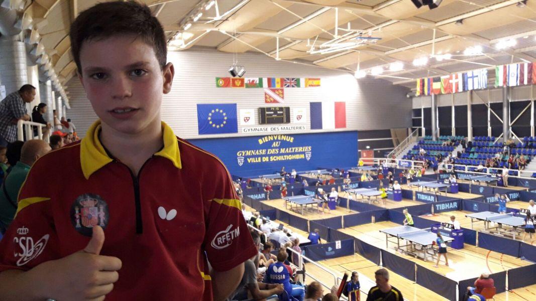 Daniel Berzosa, tras clasificarse para la final del Campeonato de Europa de Tenis de Mesa 2017