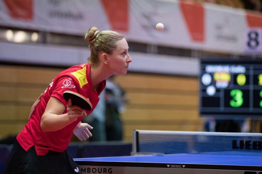 Galia Dvorak, en el Campeonato de Europa de Tenis de Mesa 2017