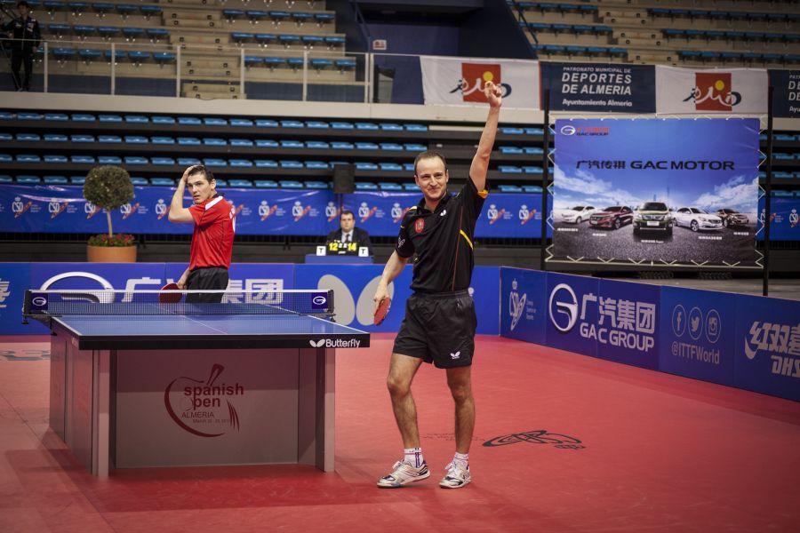 Carlos Machado disputando el ITTF Challenge Spanish Open 2015