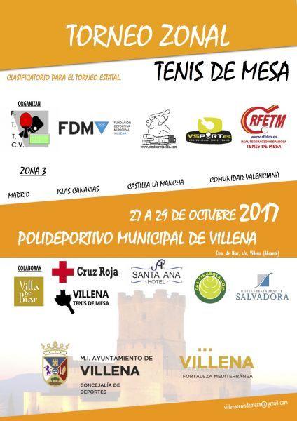 Cartel Anunciador Zonal 3 que se disputará en Villena, Alicante.