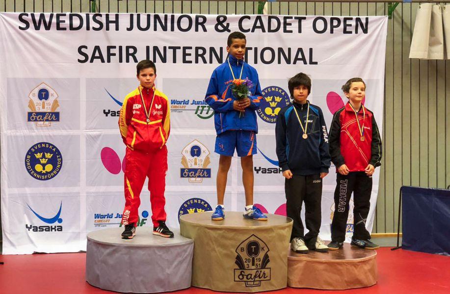 Podio del ITTF Swedish Junior & Cadet Open 2018