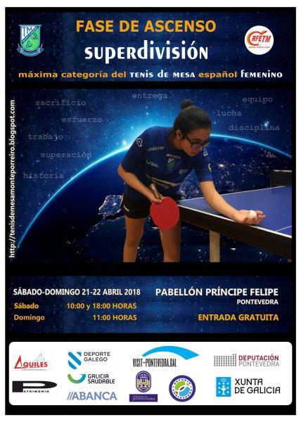 Cartel de la Fase de Ascenso a Superdivisión Femenina que se disputará en Pontevedra.