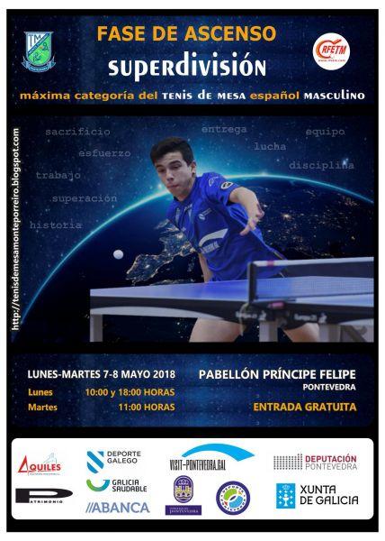 Cartel de la Fase de Ascenso a Superdivisión Masculina que se disputará en Pontevedra.