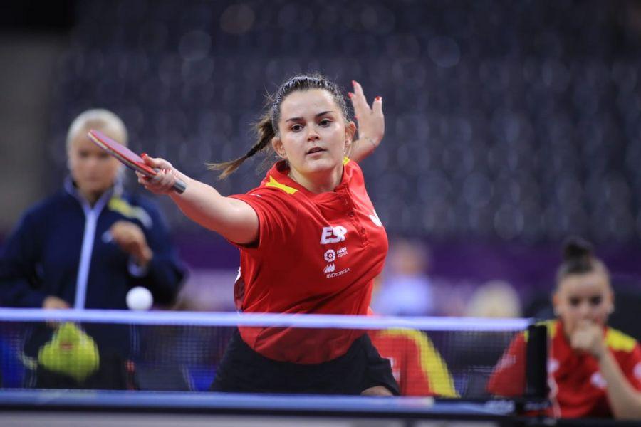 Ana García disputando el Campeonato de Europa Juvenil de Tenis de Mesa 2018 en Cluj-Napoca