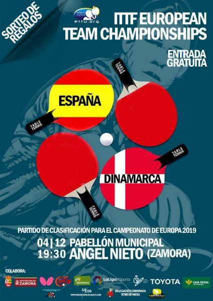 Cartel del España vs Dinamarca de Liga Europea