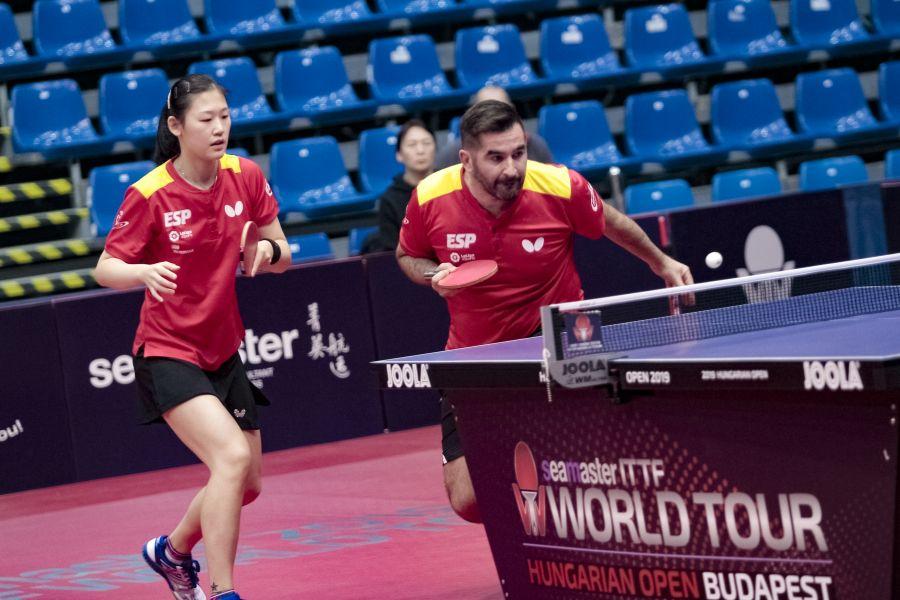 María Xiao y Jesús Cantero disputando el Seamaster ITTF World Tour Hungarian Open 2019