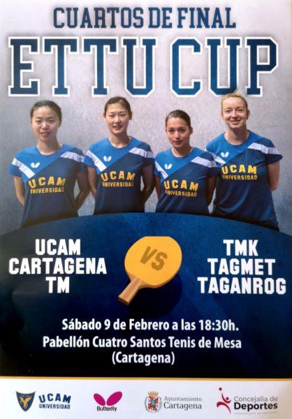 Cartel partido UCAM Cartagena TM vs TMK-TAGMET Taganrog