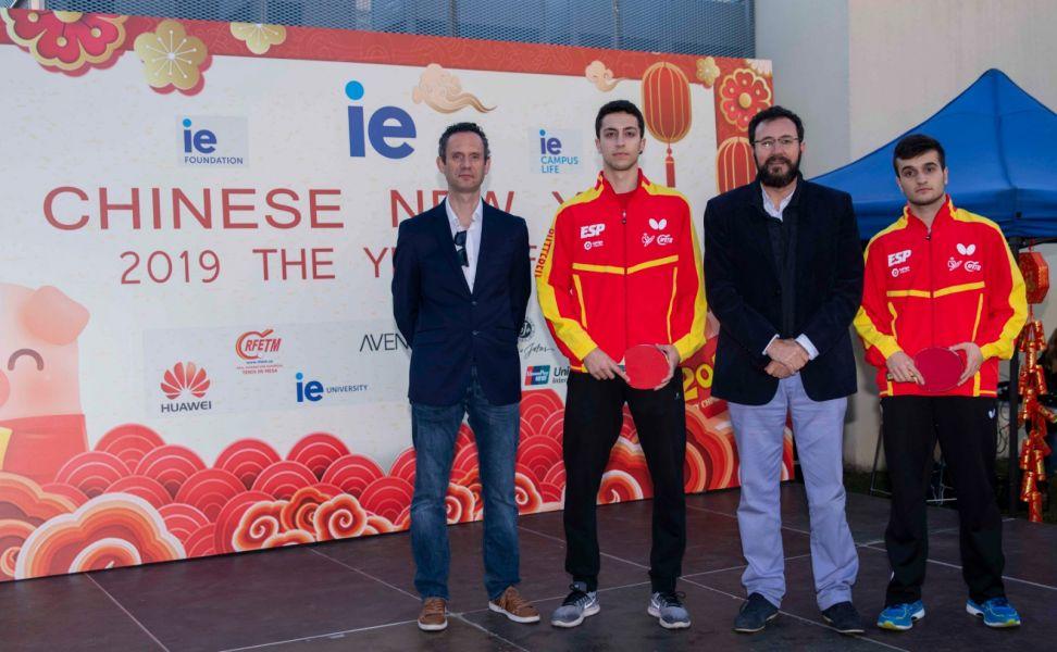 David Corral, director deportivo; Rafael Casares, deportista; Miguel Ángel Machado, presidente RFETM; Joan Masip, deportista.