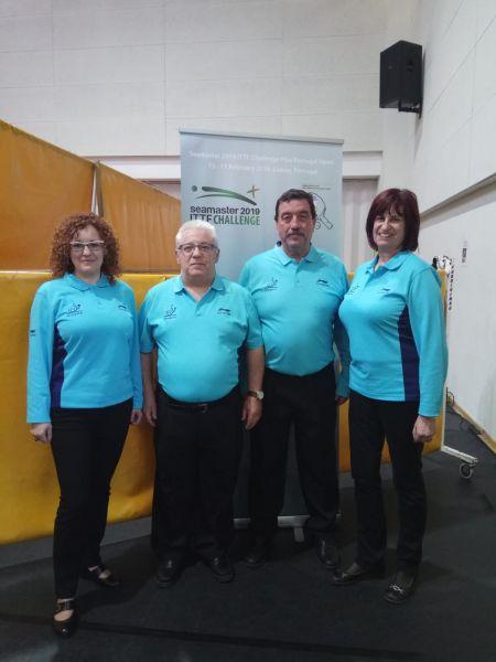 Delegación arbitral española en el Seamaster ITTF Challenge Plus de Portugal 2019