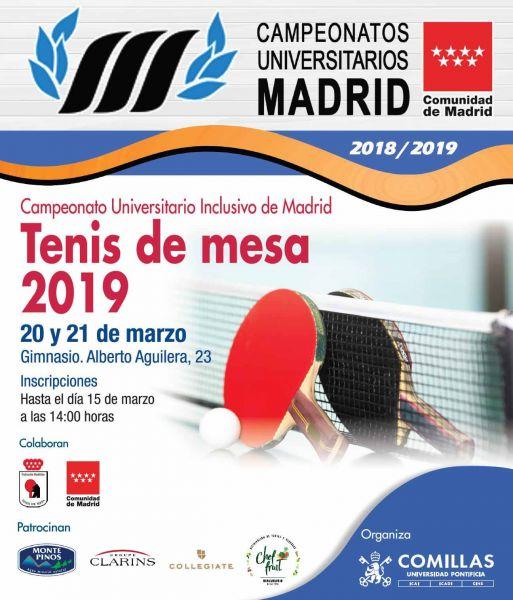 Cartel Campeonato Universitario Inclusivo de Madrid de Tenis de Mesa
