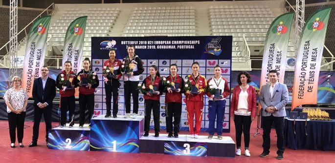 Sofía Xuan Zhang, sobre el podio del Campeonato de Europa Sub21