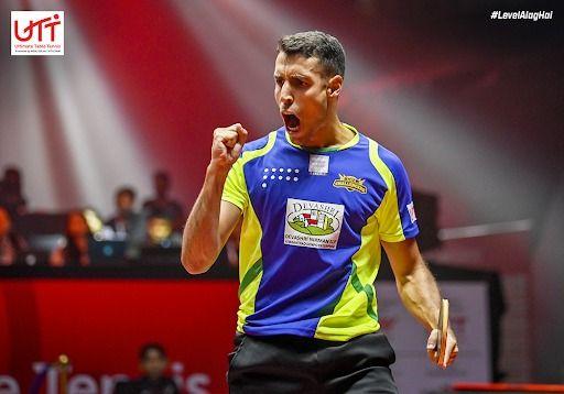 Álvaro Robles celebrando un punto en la Ultimate Table Tennis de India
