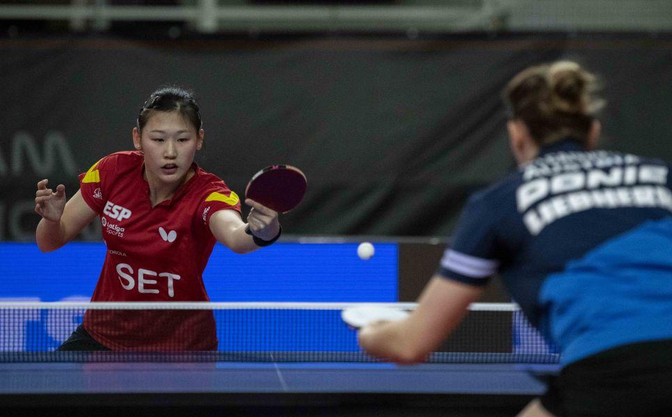 María Xiao disputando su partido ante Sofía Polcanova (Foto: Alvaro Diaz)