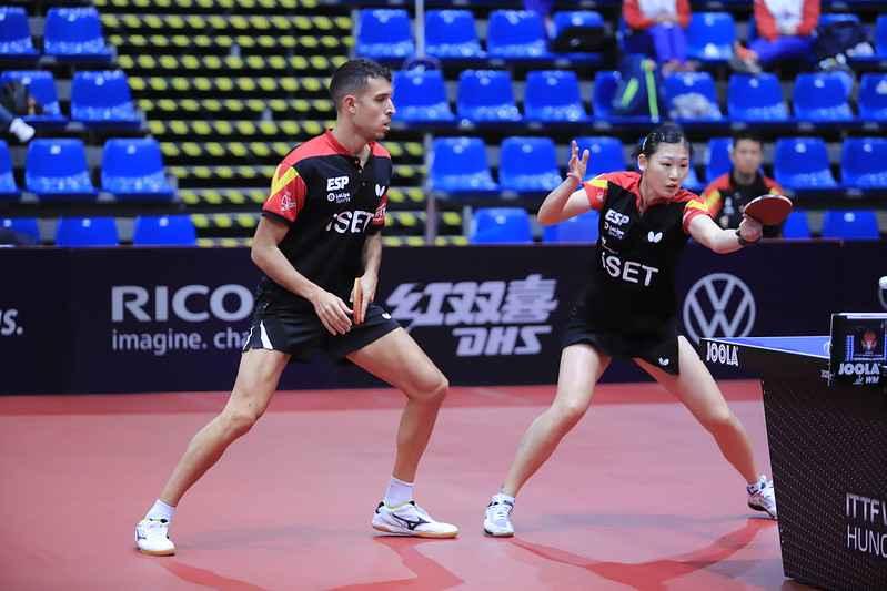 María Xiao y Álvaro Robles disputando el ITTF World Tour de Hungría